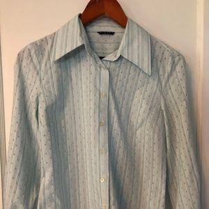 Sisley Stripe & Textured Dot Buttondown Shirt, S